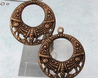 Small Hoop Pendant, Brass Ox, Trinity Brass, 2 Pieces AB154