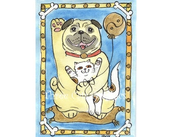 Blue Skies and the Good Fortune Pug - Choose from ACEO Print, Note Cards, or Art Print