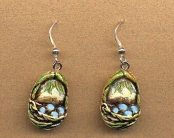 tiny bird nest blue egg dangle sterling silver earwires earrings Moosup