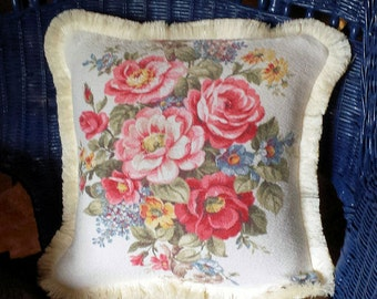 Vintage Pink Roses Barkcloth Pillow Cover Romantic Cottage Chic  Mid Century