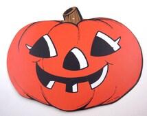 Vintage Cardboard Grinning Jack-O-Lantern or JOL Halloween Die Cut or Decoration
