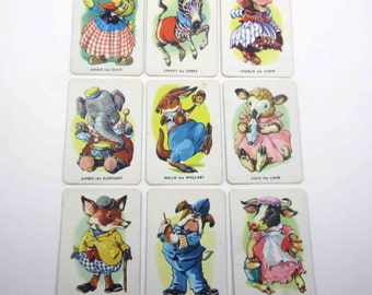 Vintage Tower Press Children's Animal Snap Playing Cards from England Set of 9
