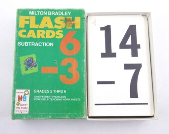 Vintage 1960s Double Sided Milton Bradley Math Flash Cards with Black Numbers for Subtraction in Original Box Set of 52