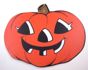 Vintage Cardboard Grinning Jack-O-Lantern or JOL Halloween Die Cut or Decoration