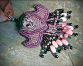 CLEARANCE SALE Egyptian Lotus Flower - Bead Embroidered Pendant Necklace by Hannah Rosner.  Seed beads & rhodonite