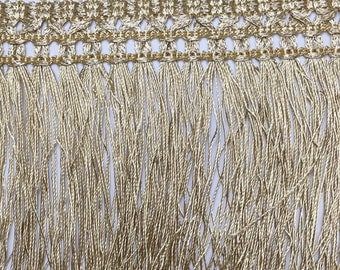 3 to 6 yards of Gold Long Tassel Trim  Chainette Fringe - 4 1/4 inch or 11 cm