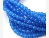 35% off Shop Closing Sale Czech Glass Bead Round Druk 4mm Opal Capri Blue (50) CZP588