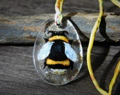 RESERVED for Sharon Little bumble bee - bumblebee fused glass pendant