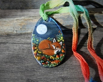 Amazing Fox in the fall -  Fused glass pendant