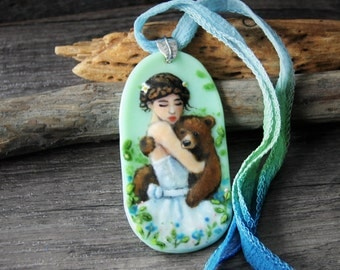 Friends in the wood - fused glass pendant - woodland animal nekclace