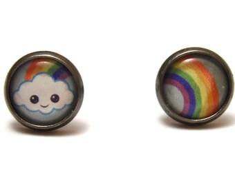 Kawaii Cloud Studs - Tiny cartoon cloud with rainbow asymmetrical post earrings SMALL - Anime Inspired