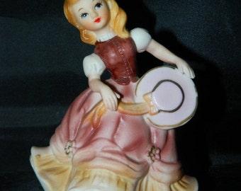 ON SALE Vintage Lefton Dancing Girl Figurine, Porcelain, Geo L. Lefton, 5080 Made in Japan, Blue Eyed, Day Dreaming