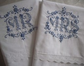 Hand Embroidered MR. & MRS. Pillowcases- Unique Wedding Gift-Blue