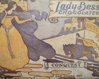 Antique Candy Box Arts and Crafts Era Lady Bess Chocolates Empty Box Art Nouveau