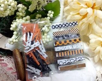 Mniature Wooden Clothespins, Orange White Black Wood Clothes Pins Clothes pins, Set Of Miniature Clothespins