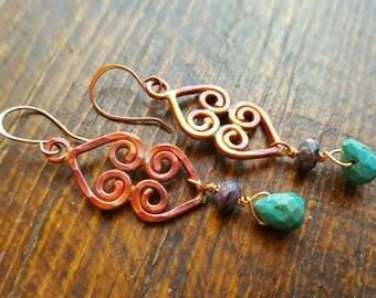 COPPER Double Heart Earrings - Rustic Earrings - Turquoise Earrings - Purple Crazy Lace  Agate - Cowgirl Jewelry -  Boho- Western Jewelry