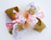 boutique GOLD and light PINK VALENTINE hearts funky fun bow on clip or headband