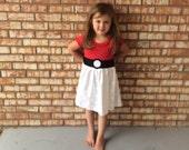 Pokeball dress for girls Pokemon tee dress for girls