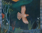 In Flight, print, bird, hawk, nature, bird watcher