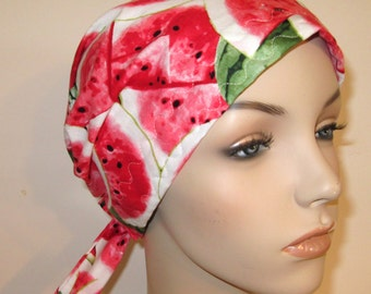 Chemo Scarf, Hat, Watermelon Print - Short Ties Cancer Hat, Hijab, Alopecia