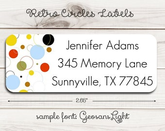 Retro Circles Return Address Labels