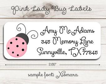 Pink Ladybug Return Address Labels