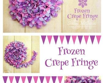 Frozen Handmade Crepe Paper Fringe, Festooning, Trim, Garland, Decoration, Party, Craft Supply, Streamer, Scrapbooking, Lilac, Pink, Blue
