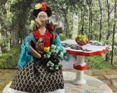 Frida Kahlo Diorama Scene Doll Miniature Self Portrait Mexican Artist Caricature Art Figure