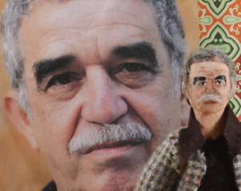 Gabriel Garcia Marquez Doll Miniature Gabo Author by Uneek Doll Designs