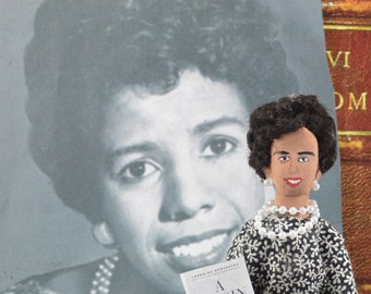 Lorraine Hansberry-  Author and Writer- Miniature Doll-  Art Character-  Black History- Uneek Doll Designs