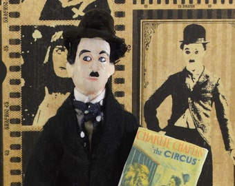 Charlie Chaplin Doll Silent Film Star And Comedian Miniature Art Collectible
