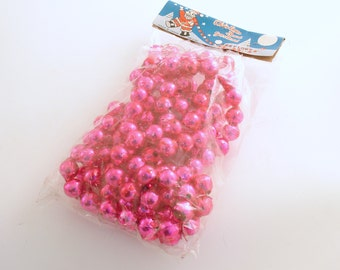 Vintage Christmas Decoration Pink Glass Bead Garland Large Pink Glass Garland