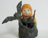 Baby's Halloween Figurine Teena Flanner by Bethany Lowe Retired Collectible Paper Mache Glitter Halloween Decoration