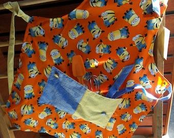 Childrens Handmade Apron--Minions Themed, Big Pocket, Ladybug Buttons, Blue and Yellow Ties