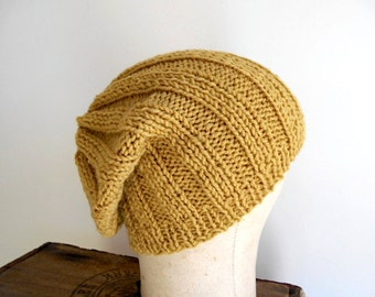 SALE Mustard slouchy beanie hat - HAND KNIT vegan wool - women men youth teen