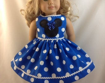 American Girl Doll Dress Blue Minnie Mouse Polka Dot Disneyland Disney World 18 in with Ears and FREE Hanger