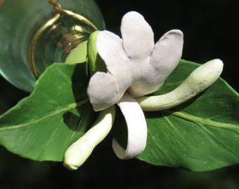 HUMMINGBIRD FEEDER--Lonicera japonica Floral Cluster on Pale Green Bottle