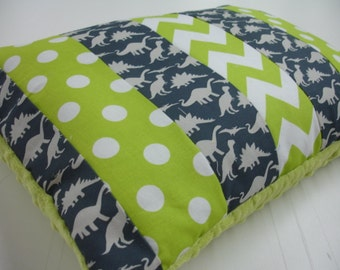 Dinosaur Parade Navy and Lime Chevron and Dots Strip-Style Patchwork Pillow Sham