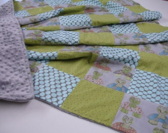Long Neck Turtles Minky Patchwork Blanket  58 X 58 READY TO SHIP On Sale