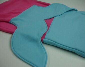 Mermaid Tail Hot Pink Aqua Fleece Blanket Baby Toddler Child Tween Choose Size READY TO SHIP!
