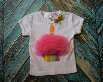 CLEaRANCE * SaMPLE SaLE* REaDY 2 ShIP* Girls RAINBOW BRIGHTS  TuLLE BIrTHDAY CUpCAKE TEE size 2T (18-24 mth)