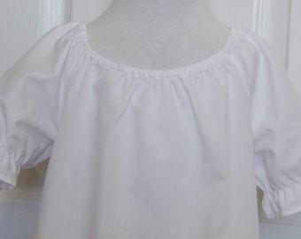 Children Girls Clothing White Blouse Peasant style Short Sleeve Top Ruffled Sleeve Pirate Shirt Folk Costulme Infant Toddler White Blouse