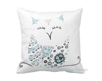 Snow owl toss pillow square 16x16 made to order woodland decor rustic home snowy owls winter owl white owl home decor custom pillows