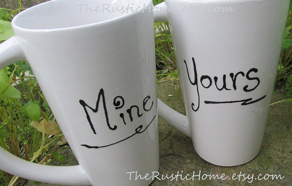 Set of TWO you choose custom pottery mugs gift set personalized in your choice of name or saying His Hers Mr. Mrs. Yours Mine Bride Groom
