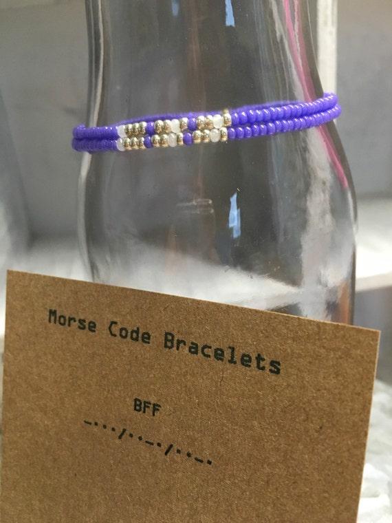 BFF Morse Code 2 pack Stretchy Bracelet Set