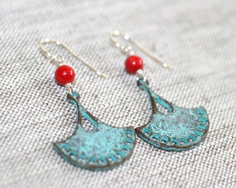 Red Coral and Green Patina Fan, Sterling Silver Earrings, Bohemian Earrings