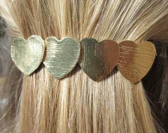 Petra Gold Heart Hair Barrette Accessory Ponytail Holder Boho Chic Metal Clip Unique Simple Modern Bohemian Hair Jewels Small Hair Clip Gift