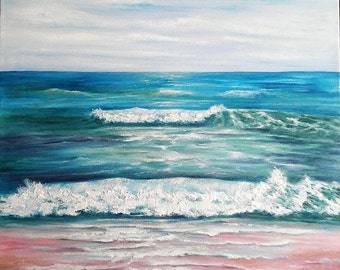 "Oil Painting Seascape Ocean Waves Beach 18"" x 24"" READY to SHIP"