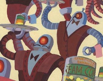 "Archival Art Print - ""Creamed Corn"" - Gouache Robot Painting"