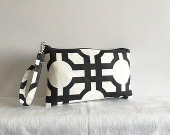 Square Wristlet Zipper Pouch - Groovy Grill